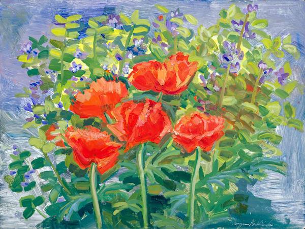 """Summertime Blues 2"".  Gorgeous lush purple and red poppies and baptisia false Indigo plein air oil painting 18x24"""
