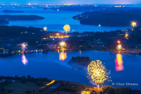 Fine art prints of fireworks display over Campbell Lake