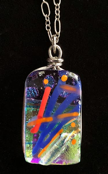 Cubed Orange and Blue Streaked Pendant