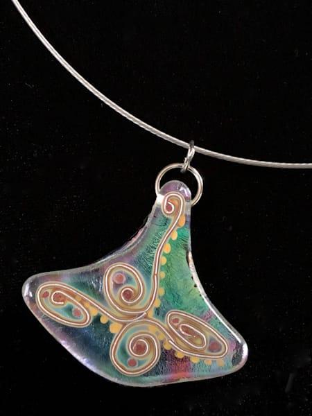 Rainbow Cloisonne' Swirl Pendant