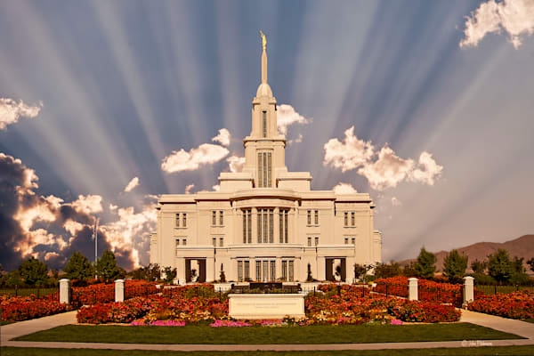 Payson Temple, evening sun rays