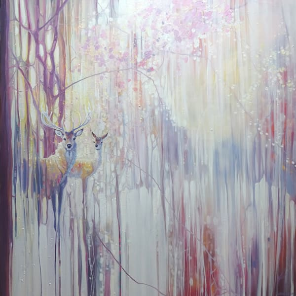Print - Woodland Born - winter abstract with deer