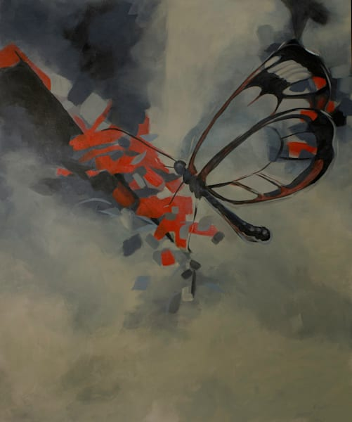 Original painting of a red and black butterfly