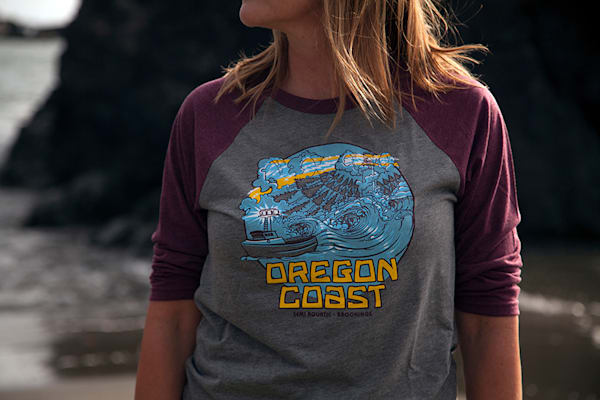 Semi Aquatic Oregon Coast Baseball T-Shirt by Spencer Reynolds