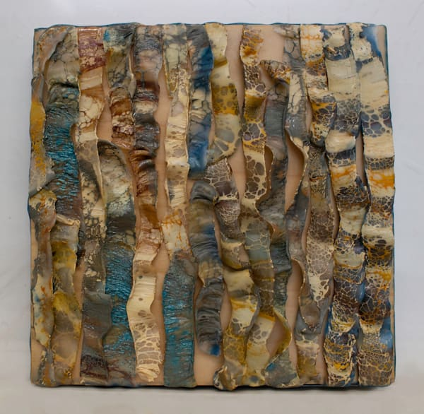 Original encaustic painting of snake skin