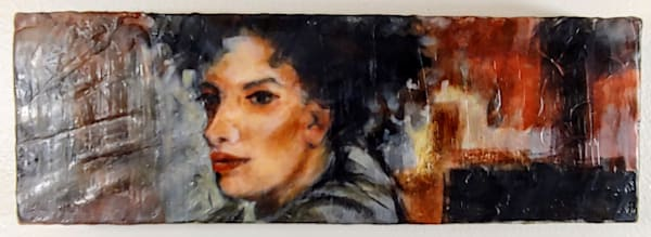 Original encaustic painting of woman in the city, in the winter