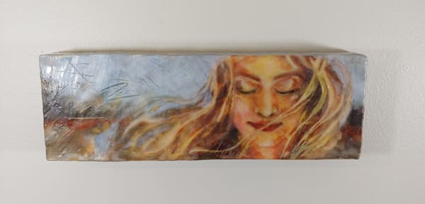 Original painting of woman in autumn breeze