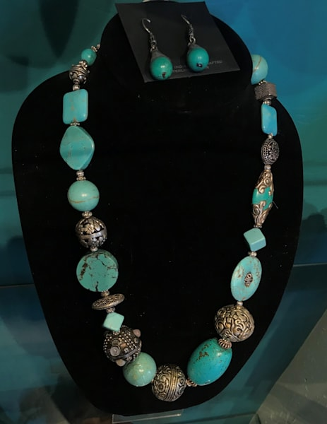 Turquoise Howlite w/ Tibetan Accent Beads Necklace Earrings