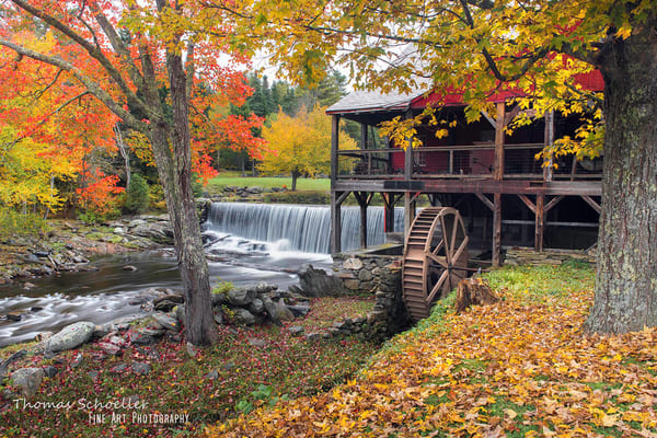 Old Grist Mill in Weston Vermont peak fall foliage season/fine art prints for sale
