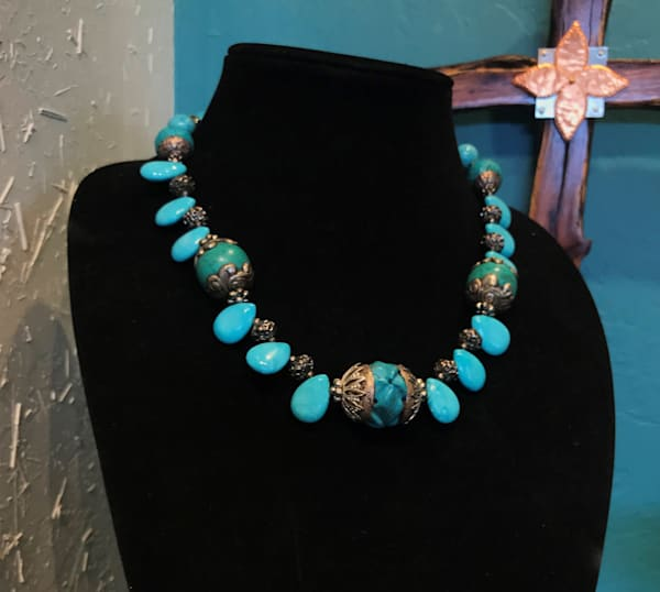 Turquoise Teardrops & Rounds Necklace Tucson Art