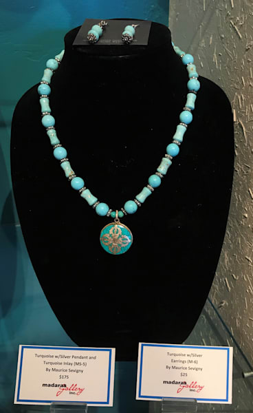 Turquoise w/ Silver Pendant and Inlay Jewelry Arizona