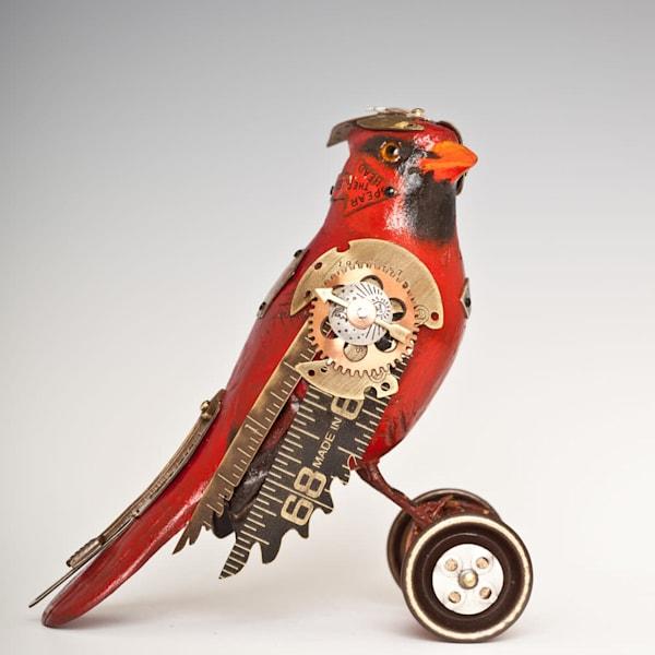 Cardinal Bird Sculpture on Wheels