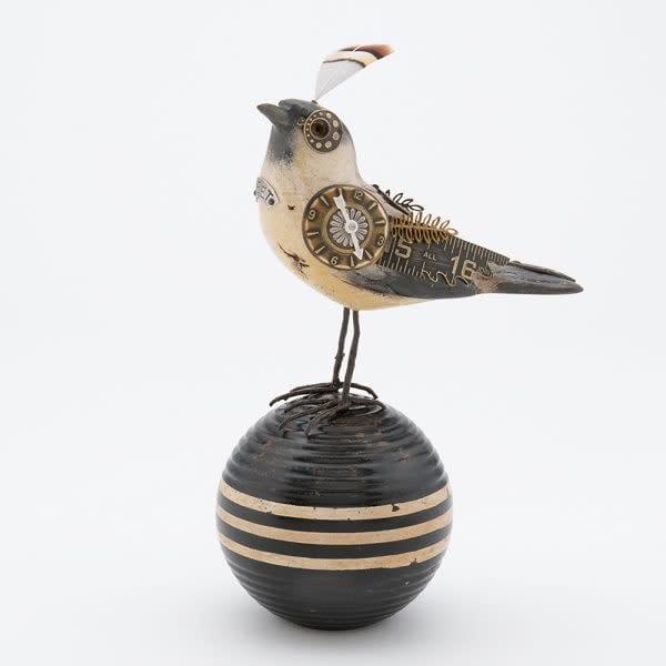White & Black Song Bird Steam Punk Bird