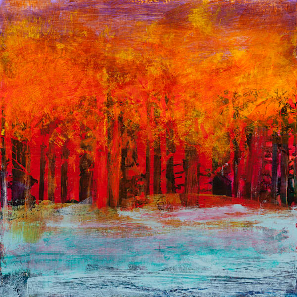 Big Canvas Red Tree Painting