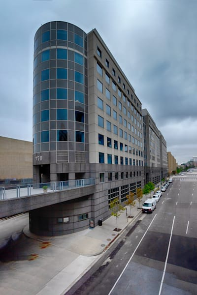 A Fine Art Photograph of A Cloudy Day in L'Enfant Plaza by Michael Pucciarelli