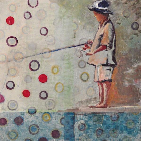 Boy fishing art for sale.