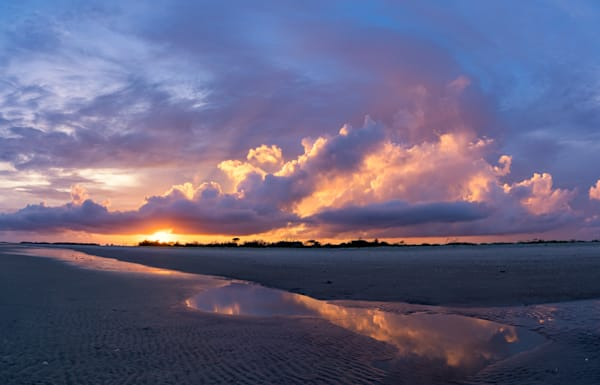 Folly Beach Sunset Skyfire Pano