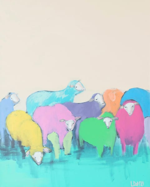RAINBOW SHEEP - 11 X 14 - $75