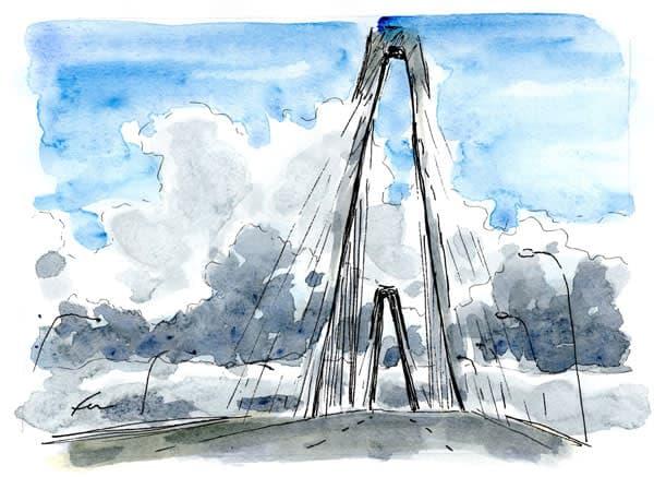 "Clouds at Ravenel Bridge (7x5"")"