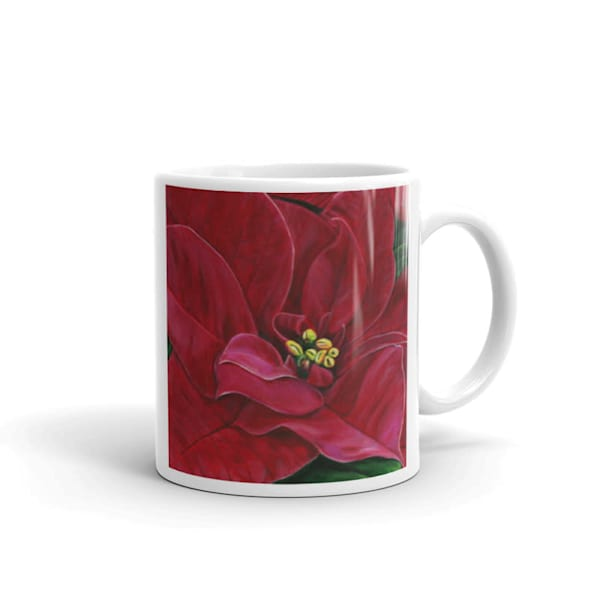 Mare's Mugs - ceramic coffee mug printed with bright and colorful Mare's art artwork of Poinsettia Passion.