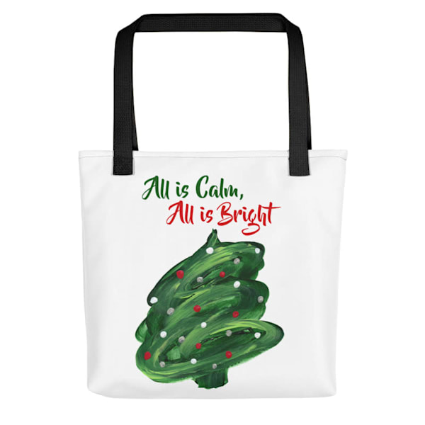 Stylish, colorful holiday tote bags with original artwork by Mary Anne Hjelmfelt of Christmas Tree Swirl printed on them.