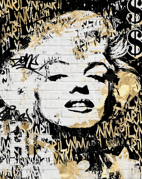 Marilyn in Gold by artist Belle Maison Wrapped Canvas Art Print