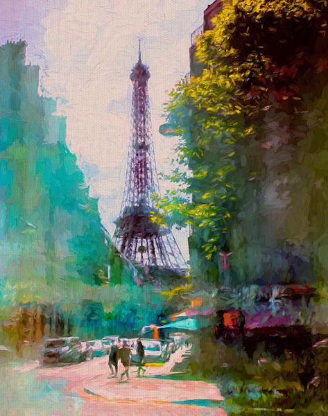 Paris Street by artist John Rivera Wrapped Canvas Art Print