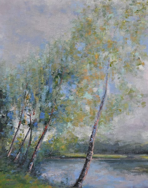 Poetry on Riverbank by artist Clement Nivert Wrapped Canvas Art Print