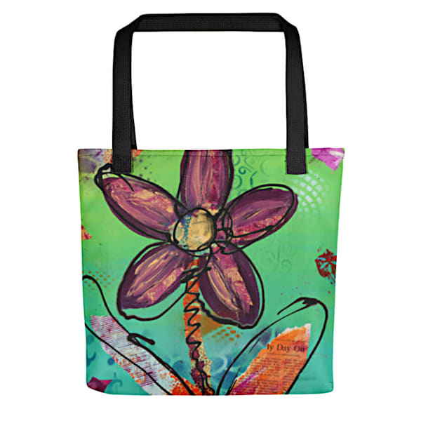 Colorful artsy tote bag with original artwork 'Playful Flower' by Mary Anne Hjelmfelt printed on it.