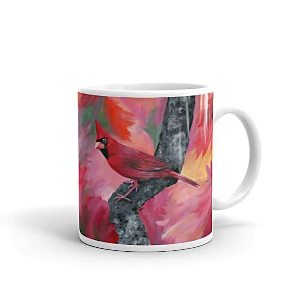 "Mare's Mugs - ceramic 11 oz. coffee mug printed with bright and colorful Mare's art artwork of ""Hello Cardinal""."