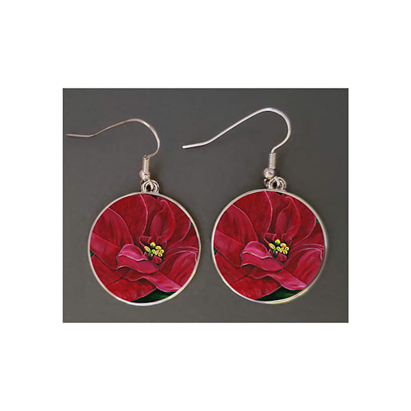 "Unique jewelry created with Mare's Art artwork ""Poinsettia Passion"" printed right on the earrings, perfect for you or as an artsy gift!"