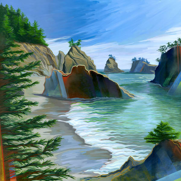 Secret Beach Painting by Spencer Reynolds