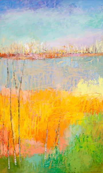 Calming Abstract Landscape Vertical Painting