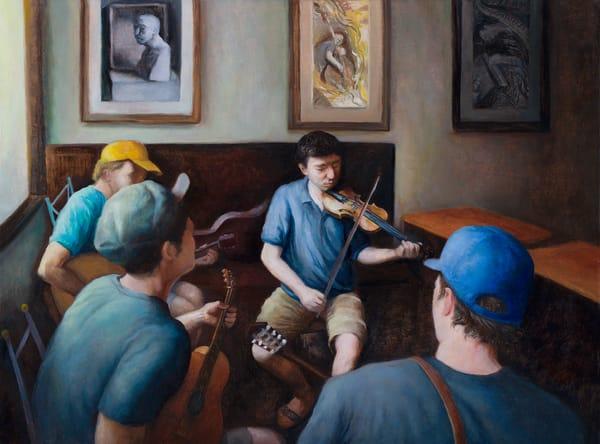Musicians at an Art Exhibit
