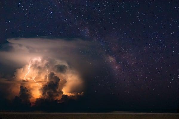 Folly Beach Milky Way and Lightning Storm