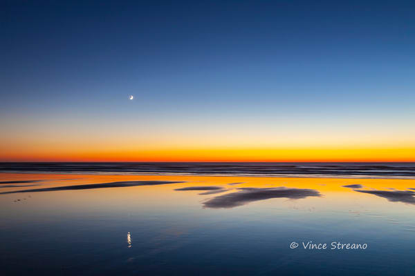 Fine art prints of moon rising over Cape Disappointment