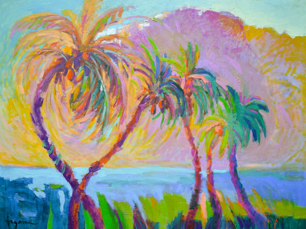 Tropical Palm Trees Painting Art Print Evening Jazz by Dorothy Fagan