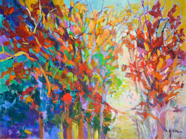 Colorful Autumn Tree Painting Red Oak II by Dorothy Fagan