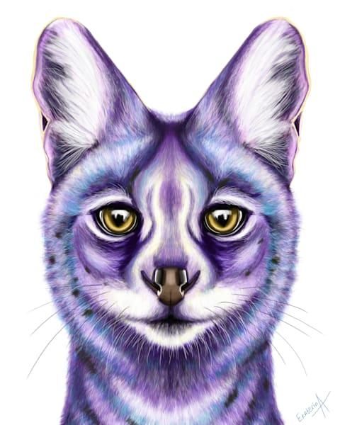 African Wildcat Digital Painting Print by Ekaterina Sky Antonova