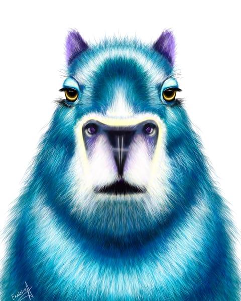 Capybara Digital Animalize Painting by Ekaterina Sky Antonova