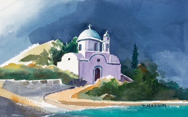 Church at Lipsi Watercolor by Madaras