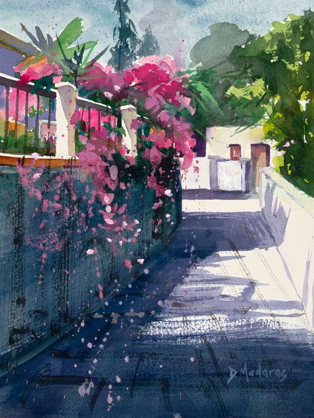 Street of Bougainvillea Watercolor