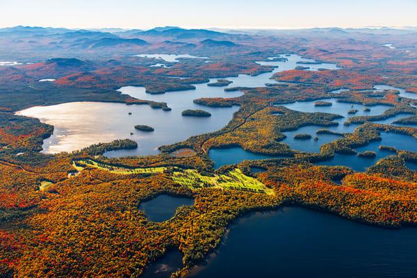 Upper Saranac And Fish Creek Area Fall Aerial Photography Art | Kurt Gardner Photogarphy Gallery