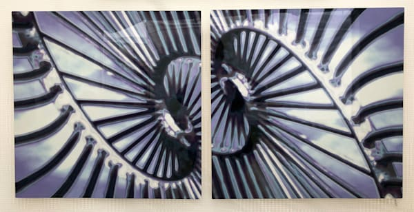 """Spiral Blue Diptych - 48""""x24"""""""