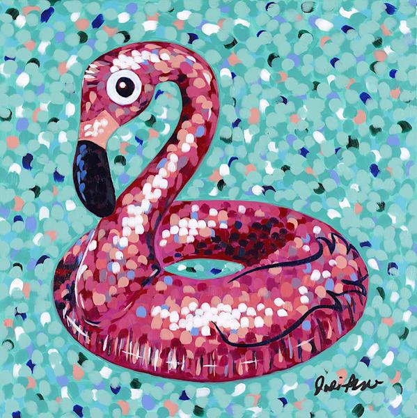 Pink Flamingo Floatie Art | Jodi Augustine Art