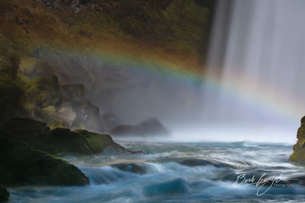 Unique photo for sale of Rainbow over Mackenzie River-Sahalie Falls by Barb Gonzalez Photography