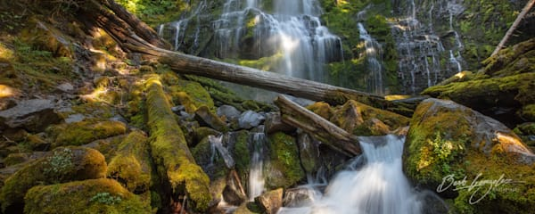 Pano photo of Proxy falls and creek fine art photo for sale | Barb Gonzalez Photography