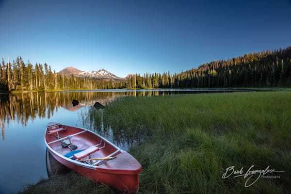 Red Canoe on Scott Lake at Sunset fine art photo for sale  by Barb Gonzalez Photography