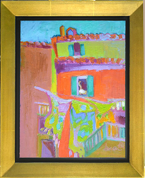 Cat in the Window Original Oil Painting by Dorothy Fagan ,Gatto Nella Finestra