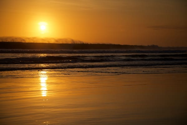 Waves Mist In Gold - Double Six Beach Seminyak Bali Indonesia | Sunset